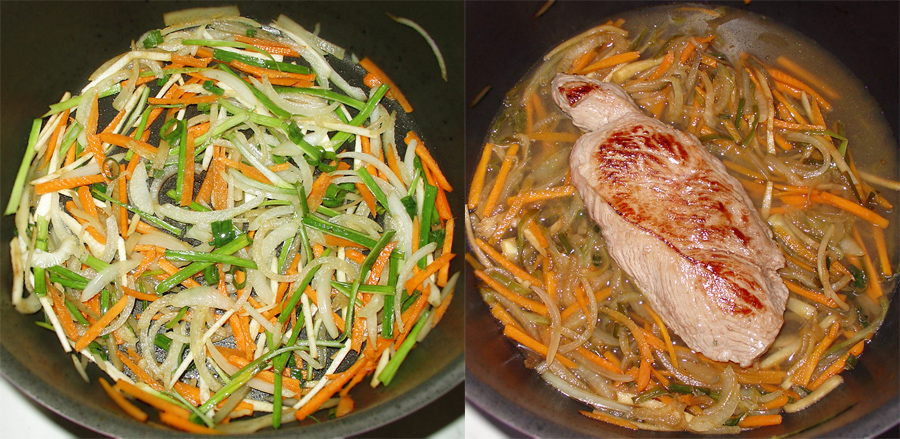 3-Cotlet de manzat cu sos de legume-balsamic